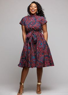 Ebele African Print Mandarin Collar Shirt Dress (Pink/Teal Ditsy)- Clearance - How To Be Trendy African Fashion Ankara, Latest African Fashion Dresses, African Print Fashion, Modern African Clothing, African Print Clothing, Short African Dresses, African Print Dresses, African Dress Styles, Chitenge Dresses