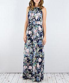 Another great find on #zulily! Blue Floral Halter Maxi Dress #zulilyfinds