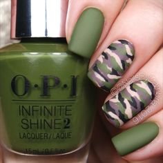 Here's the tutorial for my easy camo nails! I'll put together an in depth YouTube tutorial for these asap! Also come check out my pro page @pronailsbycambria to see what I'm doing at the salon! Panda - Desiigner @opi_products Infinite Shine Olive For Green, Set In Stone, We're In The Black, Don't Pretzel My Buttons, and Matte Top Coat @twinkled_t #00 nail art brush and #6 cleanup brush @sechenails Seche Vite