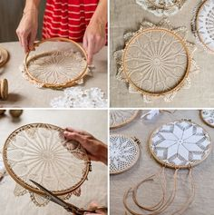▷ 1001 + tolle Ideen, wie Sie einen Traumfänger basteln Make dream catchers yourself, attach lace doilies in the knitting frame, open the wooden frame, DIY … Doily Dream Catchers, Dream Catcher Craft, Doilies Crafts, Lace Doilies, Doily Art, Dream Catcher Tutorial, Diy And Crafts, Arts And Crafts, Crafts That Sell