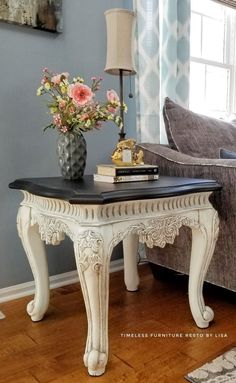 classic furniture End table furniture makeover idea! Give your drab boring end tables a facelift with this gorgeous DIY furniture makeover and restoration idea that uses Heirloom Traditions Paint and Antiquing Gel! Diy Furniture Table, Paint Furniture, Furniture Makeover, Cool Furniture, Furniture Design, Furniture Stores, Furniture Buyers, Furniture Removal, Street Furniture