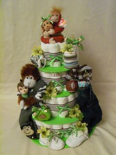 Baby Boy 4 tier Diaper cake - an adorable baby shower gift - made to order Baby Boy Shower, Baby Shower Gifts, Baby Gifts, Design Your Own Cake, Safari Diaper Cakes, Baby Shower Decorations Neutral, Baby Mine, Plush Animals, Jungle Animals