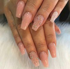 My Nails ❤ Baby Pink Nails. Coffin Nails. Bling Nails