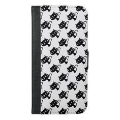 Cute black white cats patterns iPhone 6/6s plus wallet case - pattern sample design template diy cyo customize