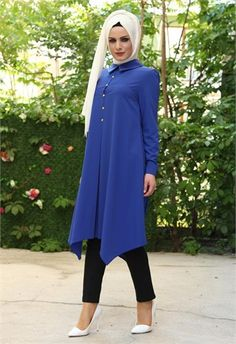 Nehir Düğmeli Uzun Tunik Saks 9126 Arab Fashion, Muslim Fashion, Abaya Pattern, Beautiful Hijab, Motifs, Outfits, Clothes, Patterns, Style