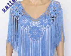 Crochet Pelerine pattern Fringe poncho PDF Rustic Poncho Wedding poncho cape