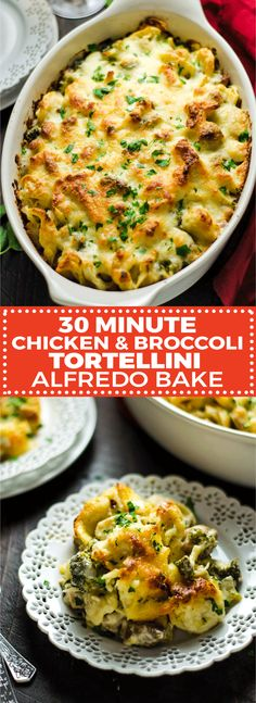 30 Minute Chicken and Broccoli Tortellini Alfredo Bake. This quick and easy weeknight dinner features juicy chicken chunks, tender broccoli, creamy homemade Alfredo sauce, velvety tortellini, and of course, plenty of cheese. | hostthetoast.com