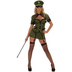 Army General Deluxe Sexy Womens Costume ($94) ❤ liked on Polyvore featuring costumes, halloween costumes, multicolor, sexy women halloween costumes, womens costumes, army costume, military costume and ladies costumes