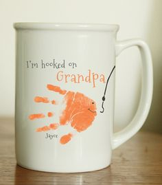 Fish Mug. Handprint and footprint art for baby and kids. Send us your prints and we do the rest! Great gifts for moms and dads, grandparents, holidays and special occasions! www.myforeverprints.com