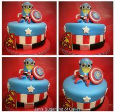 """Superjosh"" Collaboration -  Minion Captain America by Janice Barnes - Jan's Sugarland of Cakes"
