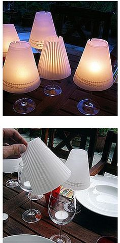 wine glasses into little lamps