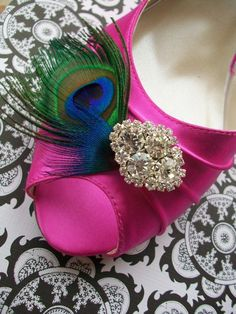 Pink Peacock 1 3/4 Heel Wedding Shoes With Your Choice Of Rhinestone Bling   Heel Size 1 3/4 ...Available In 100 Colors. $144.00, via Etsy.