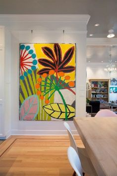Reinventing White Shaker Cabinets – Artful Kitchens - Kitchen art in the kitc. Reinventing White Shaker Cabinets – Artful Kitchens - Kitchen art in the kitchen dining room area. I love the bold color and white walls. Tableau Pop Art, White Shaker Cabinets, White Walls, White Wood, Bold Colors, Painting Inspiration, Flower Art, Modern Art, Contemporary Interior