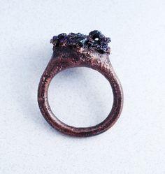 Nightcap Peak Ring - Electroformed Copper with Carbonrumdum (Silicon carbide) by StudioJardine