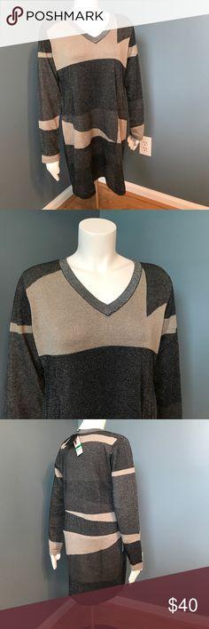 Alfani glitter grey v neck tunic large new Long sleeve light weight woven glitter sparkle tunic Alfani Tops Tunics