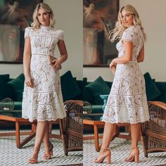 Modest Dresses, Pretty Dresses, Summer Dresses, Lace Dress, White Dress, Outfits Mujer, Wedding Bridesmaid Dresses, Wedding Inspiration, Feminine