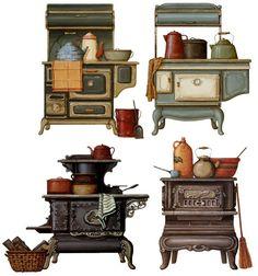 Comments: LiveInternet – Russian Ser … – Her Telden News Decoupage Vintage, Decoupage Paper, Image Deco, Antique Stove, Vintage Drawing, Prop Design, Country Art, Kitchen Art, Painting On Wood