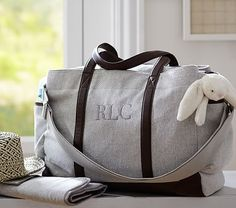 Grey Herringbone Classic Diaper Bag #pbkids. Good unisex diaper bag that Lok probably wouldn't be embarrassed carrying :) Monogram 'RAO'.