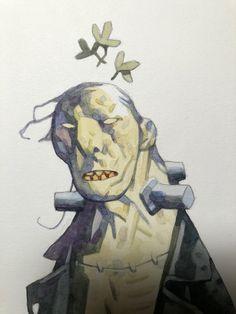 Mike Mignola, Frankenstein - making of Comic Book Artists, Comic Artist, Comic Books, Character Concept, Character Art, Mike Mignola Art, Robot Art, Science Fiction Art, Retro Futurism
