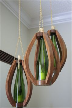 Wood Hanging Candle Lantern Set of 3 with by WoodsmithOfNaples, $190.00