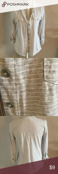 Gray and white striped button up cotton shirt Size small. Roll up sleeves. Collared. Likes cute buttoned up or opened with a cami underneath. EUC. Sonoma Tops Button Down Shirts