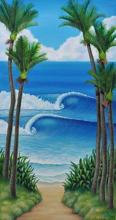 Nikau painting Pine Tree Painting, Pine Tree Art, Tropical Art, Tropical Paintings, Trees Drawing Tutorial, Tree Of Life Artwork, Shadow Painting, New Zealand Art, Nz Art