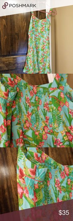 Matilda Jane EUC Hawaiian Print / Floral Sundress • Beautiful turquoise print with pink and green floral accents. Hawaiian style!   • Zips on side, but is smoked in back and has two cute buttons at neckline.   • I love this dress, sadly, it does not fit me so I am RePoshing!   • I can find no signs of wear so am assuming it has not been worn. Matilda Jane Dresses Midi