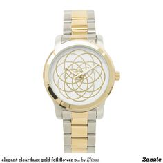 elegant clear faux gold foil flower pattern wrist watch