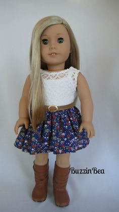 Roses and Ruffles Dress American Girl Doll Clothes by BuzzinBea; So CUTE! I think I'll check out this etsy shop...