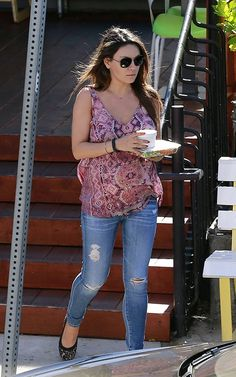 64d003ed9a3cf Mila Kunis wearing Three Dots Baby Doll V Neck Tank in Dahlia