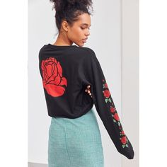 Rose Cropped Long-Sleeve Tee ($39) ❤ liked on Polyvore featuring tops, t-shirts, long sleeve crop top, graphic crop top, long sleeve graphic t shirts, crew neck t shirt and long sleeve crew neck t shirt