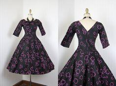 1950s Dress  Vintage 50s Dress  Black Pink Flocked by jumblelaya, $148.00