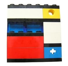 Geek chic Primary Colors brooch - made from LEGO® bricks on stretchy cords - MONDRIAN Bauhaus De Stijl