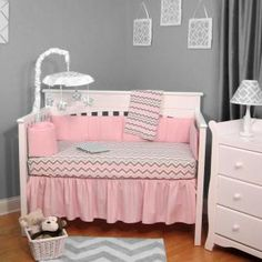 BEDDING Chevron Pink and Gray baby crib bedding sets are available at Baby SuperMall with low prices and more pictures than any other retailer.