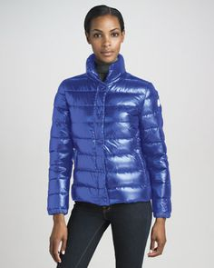 Short Laque Puffer Jacket, Royal by Moncler at #Binns of Williamsburg