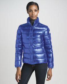 Short Laque Puffer Jacket, Royal by Moncler at #Binns of Williamsburg