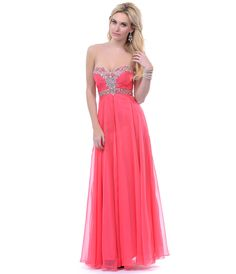 2013 Prom Dresses- Coral Strapless Rhinestone Gown - Unique Vintage - Prom dresses, retro dresses, retro swimsuits.