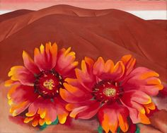 Georgia O'Keeffe : Red Hills with Flowers (Collines rouges et fleurs), 1937 - huile sur toile - x cm - Chicago, The Art Institute of Chicago, legs d'Hortense Henry Prosser Georgia O'keeffe, Alfred Stieglitz, Wisconsin, Santa Fe, New Mexico, Georgia O Keeffe Paintings, Raoul Dufy, A4 Poster, Art Moderne