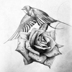 black white swallow rose tattoo - Google Search