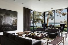 Three features attracted us to this multi-generational Northern California home. First we noticed the harmonious interplay of subtle patterns and textures inside. Second, we were delighted by the eye-catching but 'on-brand' lighting fixtures throughout the residence. And third, the understated luxury of the house inside, but especially outside, speaks of a deep understanding of style. …