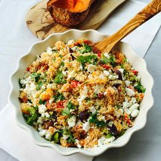 This meatless dish combines couscous with roasted veggies such as butternut squash, red bell pepper, onions & carrots. Get this recipe...