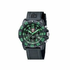 Luminox EVO Navy SEAL Colormark Chrono Black Dial Mens watch 3097 by Luminox. $375.00. Diving watch, Swiss quartz movement, Chronograph featuring 12-hour, 30-minute and continuous seconds subdials, Polished green hands with luminous accents and chronograph sweep seconds, Polished green hands mark subdials, Applied polished green Arabic numbers, Green Arabic numbers and indices mark subdials, Applied luminescent baton markers with green detailing and green indices mark surro...