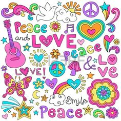 Peace Love and Music Flower Power Groovy Psychedelic Notebook Doodles Set with Butterfly, Flowers, Peace Sign, Acoustic Guitar, and More - stock vector Paz Hippie, Mundo Hippie, Estilo Hippie, Hippie Peace, Happy Hippie, Hippie Love, Hippie Party, Images Hippie, Fiesta Flower Power