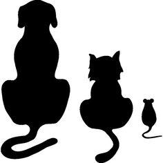 Hund Katze und Maus Chien chat et souris Stencil Patterns, Applique Patterns, Animal Silhouette, Silhouette Design, Mouse Silhouette, Animal Stencil, String Art, Rock Art, Cat Art