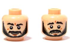 Lego New Black Minifig Head Dual Sided Balaclava White Headband Cheek Lines