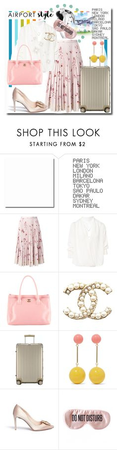 """""""Airport style: pink chic"""" by ane-56 ❤ liked on Polyvore featuring ADZif, RED Valentino, BA&SH, Chanel, Rimowa, J.W. Anderson, Nicholas Kirkwood and BaubleBar"""