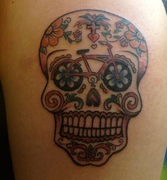Bike Sugar Skull Tattoo @Jack Pate Outside says I should get one. I'd love it on a jersey but I'm not sure about on my body.