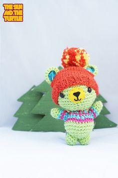 #Amigurumi #bear   by The Sun and The Turtle #Crochet #pompom #beanie