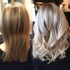 """""""Love this transformation from brassy to bright baby blonde #beforeandafter…"""