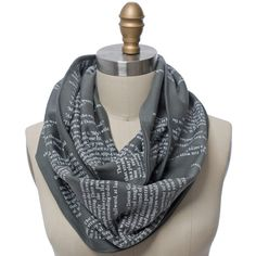 The Picture of Dorian Gray Book Scarf - Literary Scarf - Storiarts - 4 Dorian Gray Book, Grey Flannel, Circle Scarf, Summer Scarves, Grey Fabric, Grey And White, My Style, Nerd Style, How To Wear